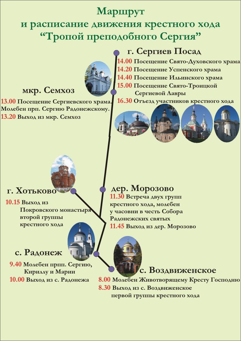 Маршрут и расписание движения Крестного хода Тропой Сергия 2011. 5-е октября 2013 г.