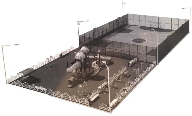 Детский спорт городок, возводимый в Парке Победы. Хотьково июнь 2014