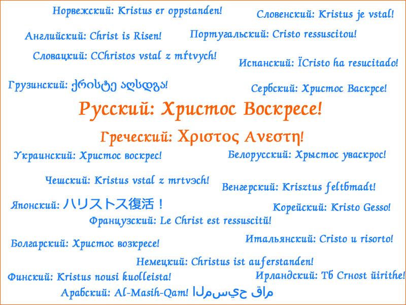 Христос Воскресе на разных языках мира