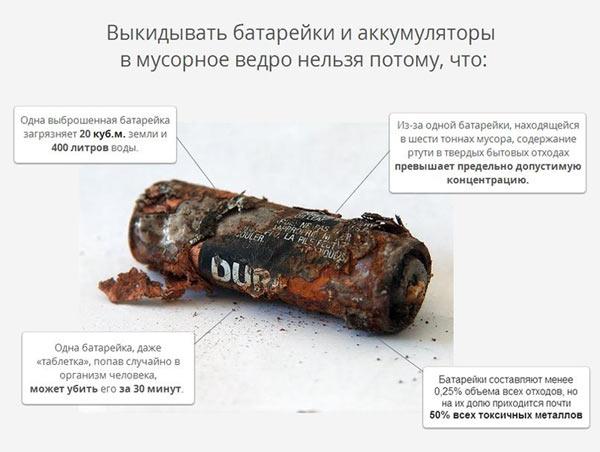 Вред батареек для окружающей среды