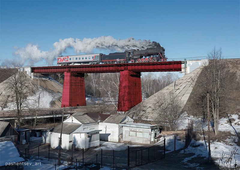 Красный мост в Хотькове